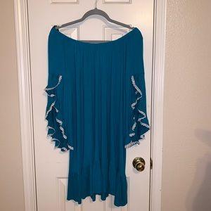Off the shoulder teal dress